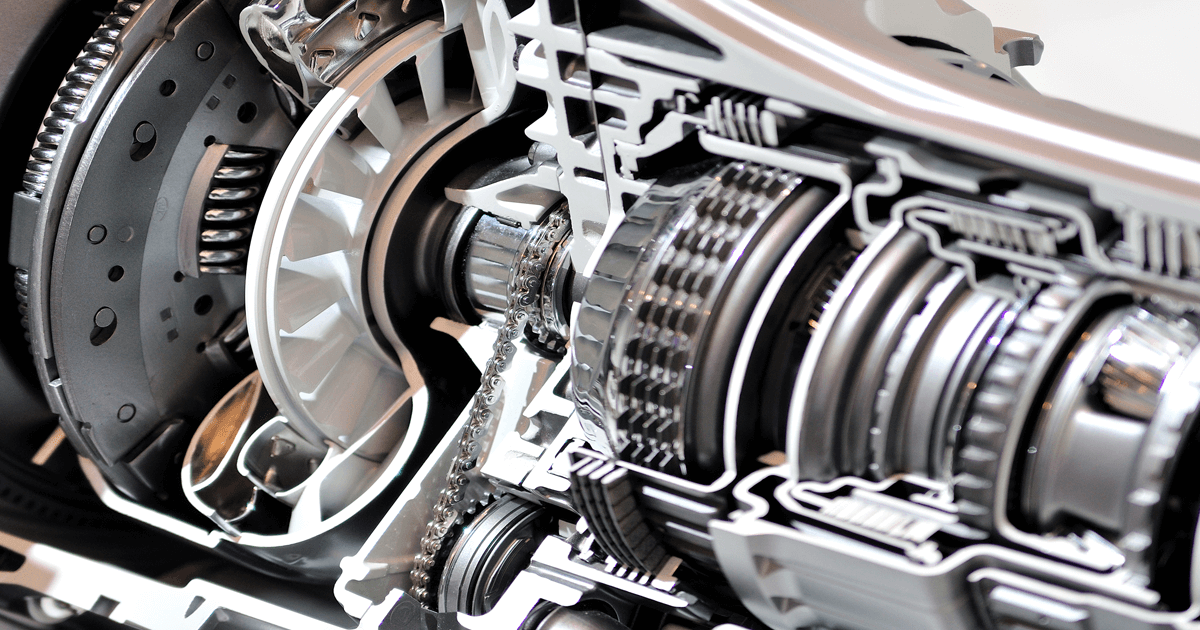 Cross-section of a car clutch and gearbox