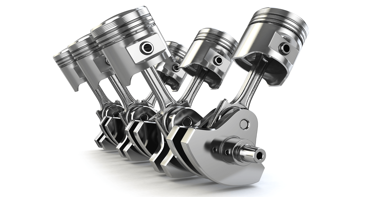 V6 car engine parts - pistons and crankshaft