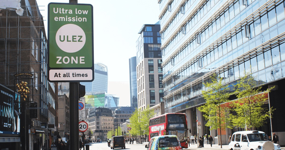 Ultra Low Emission Zone (ULEZ) warning sign central London